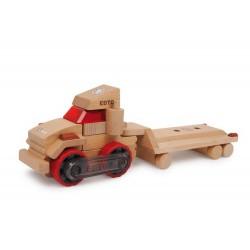 Dřevěné auto - Nákladní auto s přívěsem, 32 cm