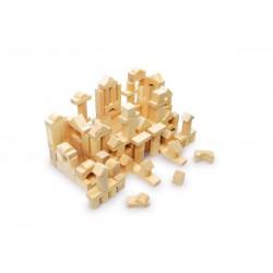 Dřevěná stavebnice Pytel se stavebními kostkami, 100ks