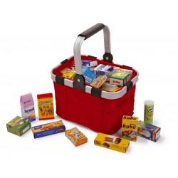 Dětský nákupní košík skládací s nákupem, červený