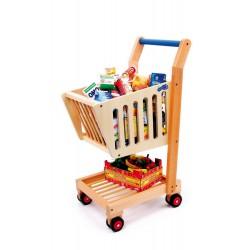 Dětský nákupní vozík, dřevěný přírodní