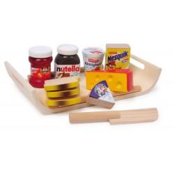 Dřevěné potraviny - Podnos se snídaní