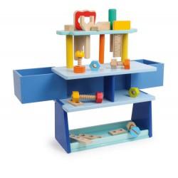 Dětský dřevěný pracovní ponk, dílenský stůl, modrý