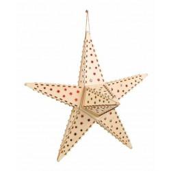 Světlo Vánoční hvězda přírodní vyřezávaná